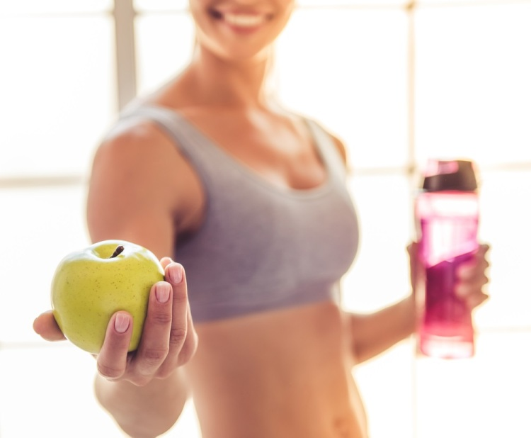 Gym apple water exercise diet Shutterstock Strong Fit Well